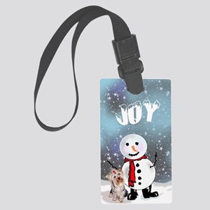 Yorkie Christmas Large Luggage Tag