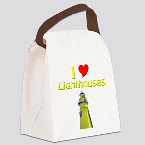 beach island cape lighthouse Canvas Lunch Bag