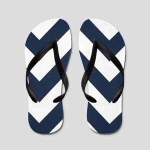 Classic Navy Blue and White Zigzags Flip Flops