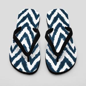 Funky Fuzzy Blue Zigzags Flip Flops