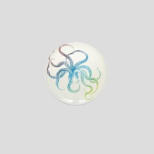 colorful octopus silhouette Mini Button