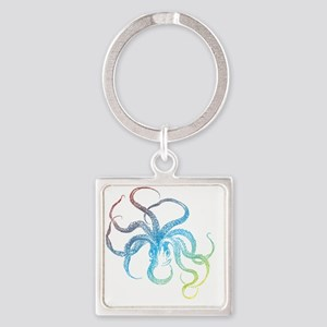 colorful octopus silhouette Square Keychain