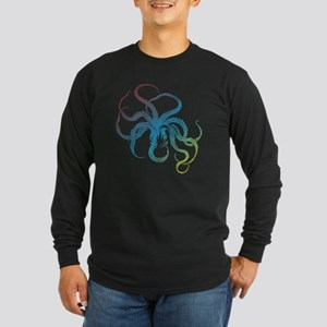 colorful octopus silhouet Long Sleeve Dark T-Shirt