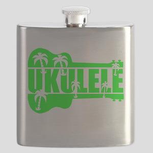 hawaiian ukulele uke palm tree design Flask