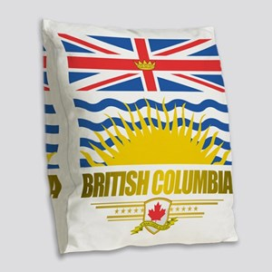British Columbia Flag Burlap Throw Pillow