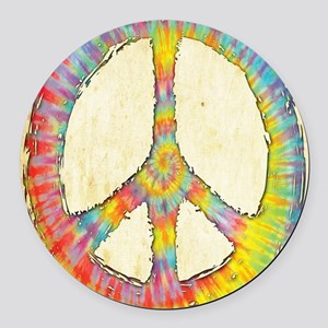 tiedye-peace-713-LG Round Car Magnet