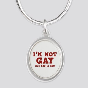I'm Not Gay Silver Oval Necklace