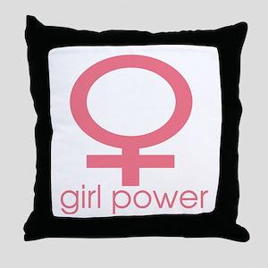 Girl Power Light Pink Throw Pillow