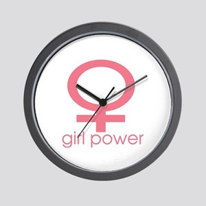 Girl Power Light Pink Wall Clock