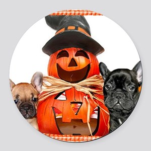 Halloween French Bulldogs Round Car Magnet