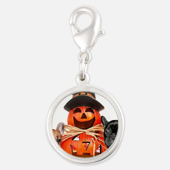 Halloween French Bulldogs Silver Round Charm