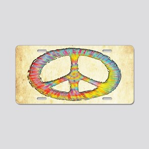 tiedye-peace-713-OV Aluminum License Plate