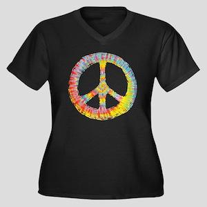 tiedye-peace Women's Plus Size Dark V-Neck T-Shirt