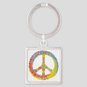 tiedye-peace-713-DKT Square Keychain