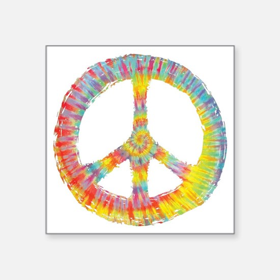 "tiedye-peace-713-DKT Square Sticker 3"" x 3"""