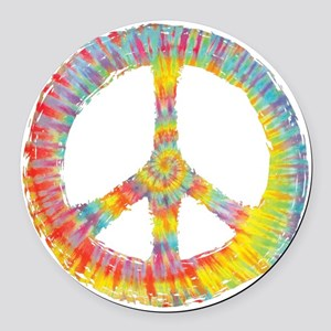 tiedye-peace-713-DKT Round Car Magnet