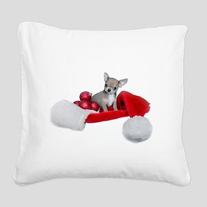 Christmas Chihuahua Dog Square Canvas Pillow