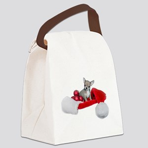 Christmas Chihuahua Dog Canvas Lunch Bag
