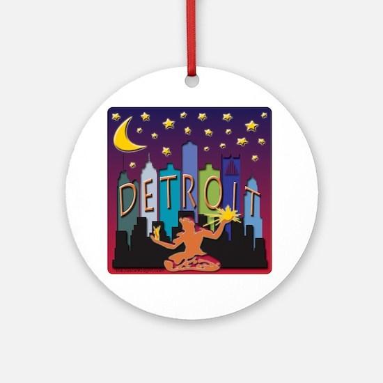 Detroit Skyline Mega Color Round Ornament