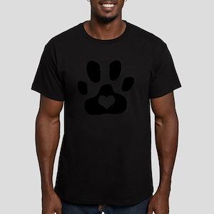 Heart Paw Print Men's Fitted T-Shirt (dark)