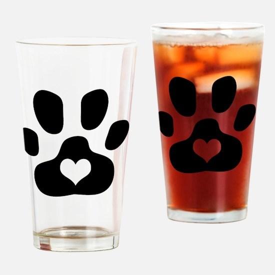Heart Paw Print Drinking Glass