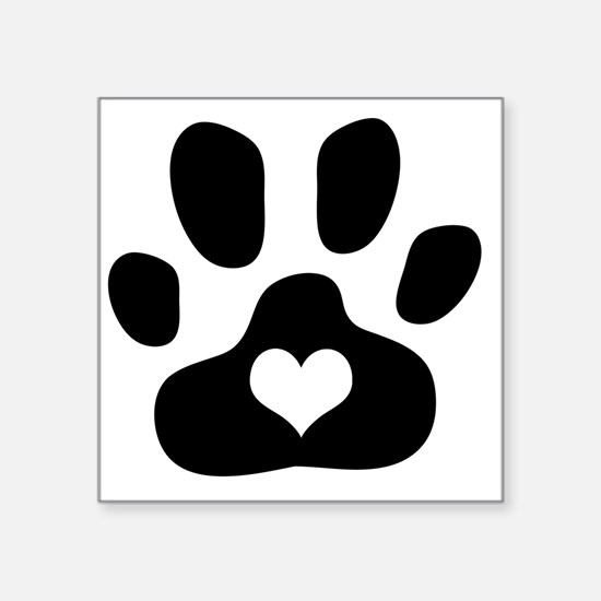 "Heart Paw Print Square Sticker 3"" x 3"""