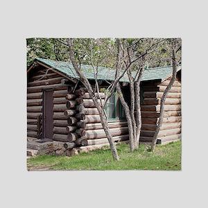 Log cabin, Grand Canyon North Rim, A Throw Blanket