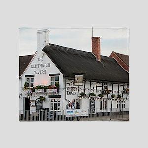 Old Thatch Tavern, Stratford, Englan Throw Blanket