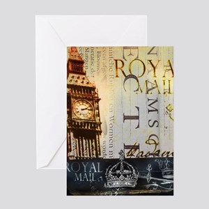 vintage big ben London typography UK Greeting Card