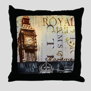 vintage big ben London typography UK  Throw Pillow