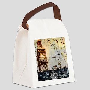 vintage big ben London typography Canvas Lunch Bag