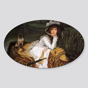 Lady in a Boat with Pug Sticker (Oval)