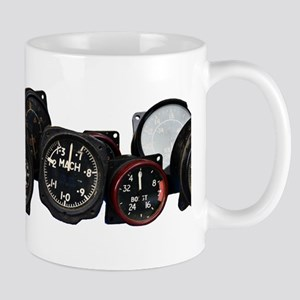 Vintage Flight instruments, aircraft gauge Mugs