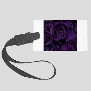 Black Purple Rose Large Luggage Tag