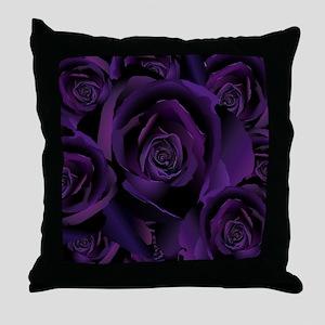 Black Purple Rose Throw Pillow