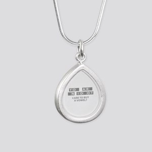 Care To Buy A Vowel? Silver Teardrop Necklace