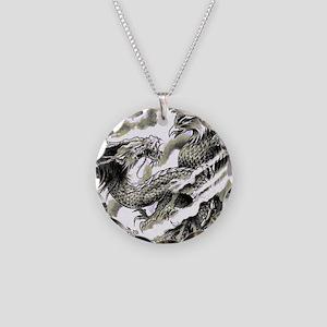 Dragon  Phoenix Tattoo Flip  Necklace Circle Charm