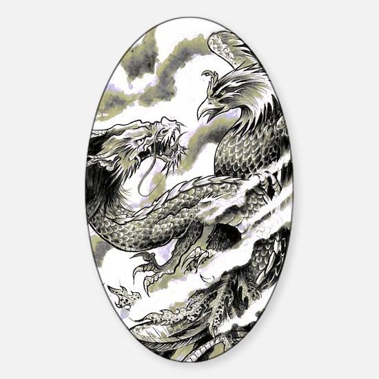 Dragon  Phoenix Tattoo Flip Flops Sticker (Oval)