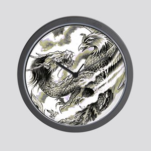 Dragon  Phoenix Tattoo Flip Flops Wall Clock