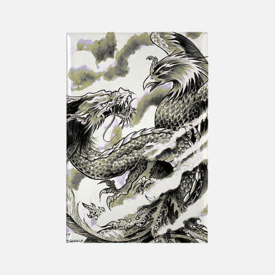 Dragon  Phoenix Tattoo Flip Flops Rectangle Magnet