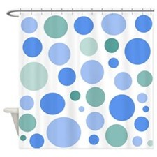Blue and Green Dots Shower Curtain