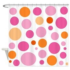 Pink and Orange Dots Shower Curtain
