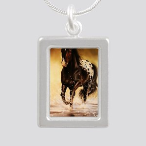 Running free Silver Portrait Necklace