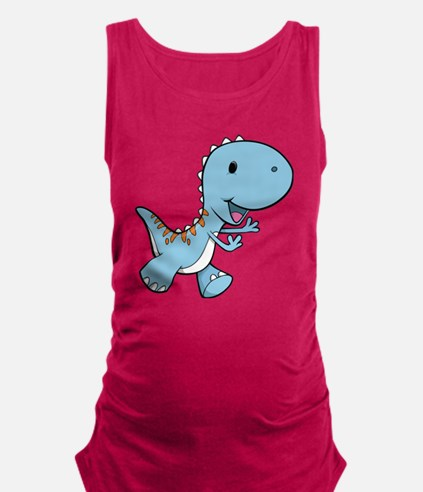Running Baby Dino Maternity Tank Top