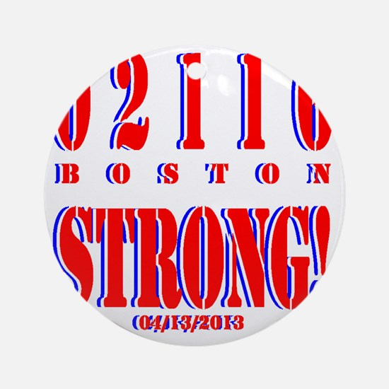 BOSTON STRONG Red, White and Blue Round Ornament