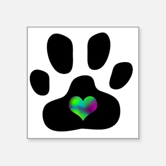 "Rainbow Heart Pawprint Square Sticker 3"" x 3"""