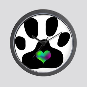 Rainbow Heart Pawprint Wall Clock