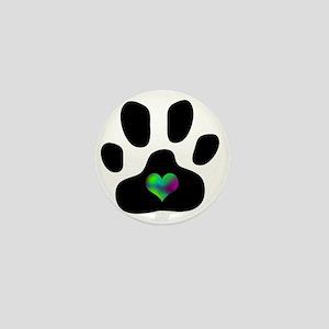 Rainbow Heart Pawprint Mini Button