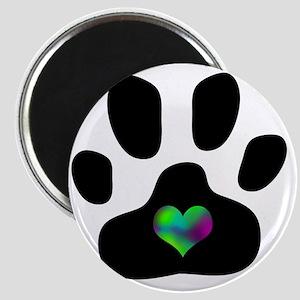 Rainbow Heart Pawprint Magnet