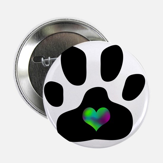 "Rainbow Heart Pawprint 2.25"" Button"